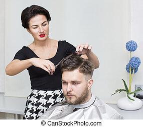 homem, jovem, cabeleireiras