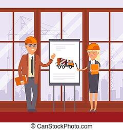 homem, máquina construção, illustration., mulher, technic, vetorial, uso, discussão, equipment., gerência, levantar