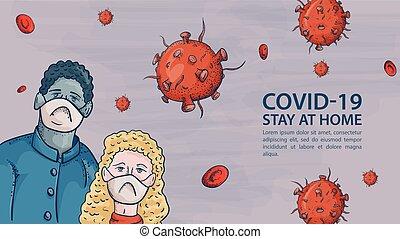 homem, máscaras, aviso, coronavirus, dois, covind, inscrição, moléculas, 2019-ncov, pessoas, vírus, vermelho, mulher
