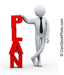 homem negócios, apresentação, palavra, plano, 3d