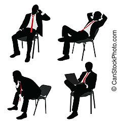 homem negócios, cadeira, sentando