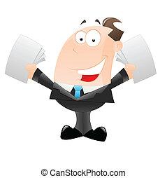 homem negócios, caricatura, feliz