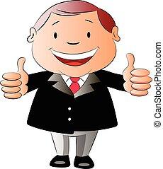 homem negócios, cima, dois, ilustração, polegares