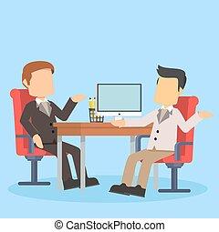 homem negócios, discutir, escrivaninha escritório