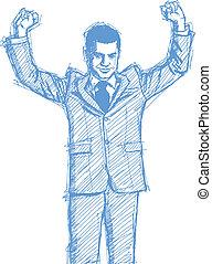 homem negócios, esboço, cima, mãos