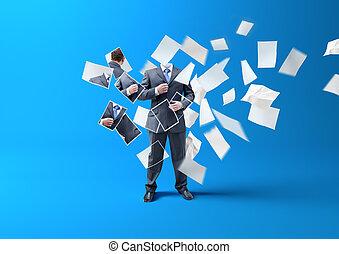 homem negócios, imprimindo