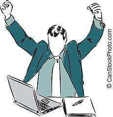 homem negócios, laptop, vencedor, illu