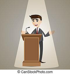 homem negócios, pódio, caricatura, falando