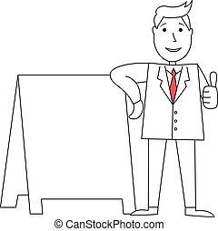 homem negócios, polegares cima, caricatura