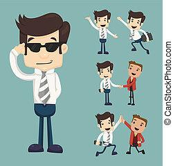homem negócios, poses, jogo, caráteres