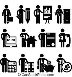 homem negócios, programador, trabalho, advogado