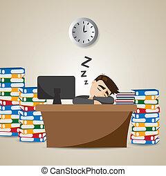 homem negócios, tempo, caricatura, trabalhando, dormir