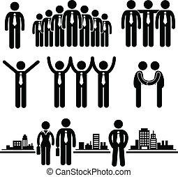homem negócios, trabalhador, negócio, grupo