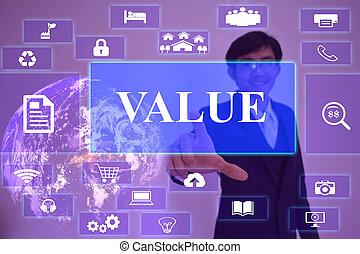 homem negócios, virtual, nasa, valor, tela, elemento, apresentado, tocar, conceito, fornecido
