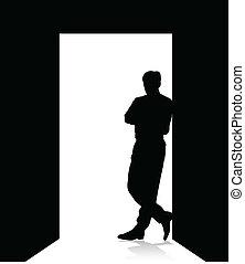 homem, porta, inclinar-se