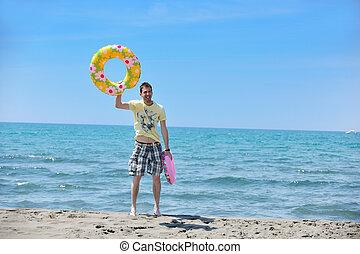 homem, praia, relaxe