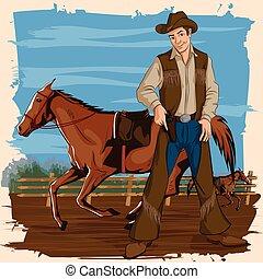 homem, retro, fazenda, cavalo