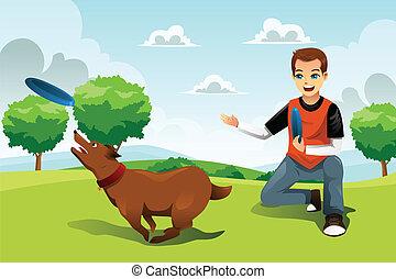homem, seu, cão, frisbee, tocando