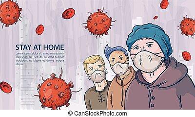 homem, três, contorno, ilustração, máscaras, coronavirus, aviso, covind, inscrição, moléculas, 2019-ncov, pessoas, vírus, vermelho, mulher