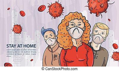 homem, três, roupas, contorno, ilustração, máscaras, coronavirus, aviso, covind, inscrição, moléculas, 2019-ncov, pessoas, vírus, vermelho, desgastar, mulher