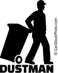 homem, trabalho, dustman, lixo, título