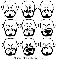 homem, vetorial, expressão, calvo, rosto
