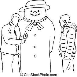 homens, fazer, isolado, esboço, linhas, fundo, vetorial, branca, pretas, grande, cima, sinal, boneco neve, doodle, dois, ilustração, polegar, mão, desenhado