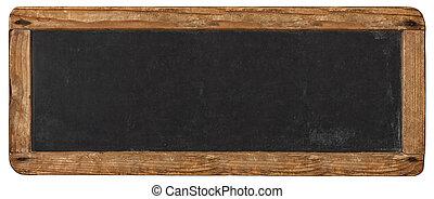 horizontais, rústico, sinal, em branco, chalkboard, isolado, mockup