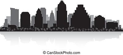 horizonte cidade, silueta, austin