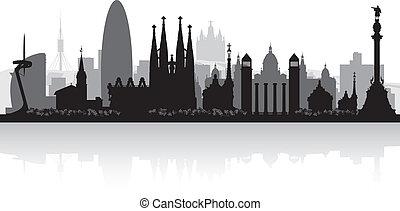 horizonte cidade, silueta, barcelona, espanha