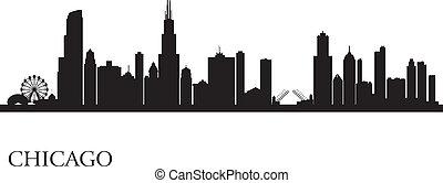 horizonte cidade, silueta, fundo, chicago