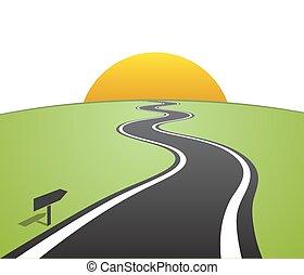horizonte, sobre, estrada, partindo, enrolamento, linhas brancas