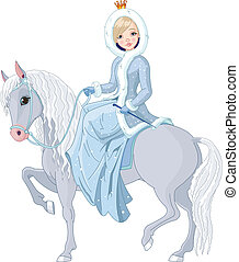 horse., montando, princesa, inverno