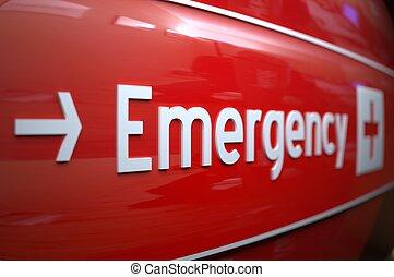 hospital., sinal, emergência