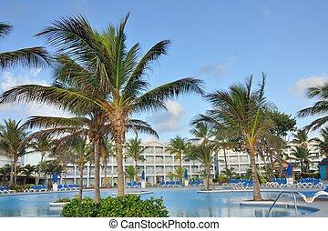hotel, caraíbas, piscina