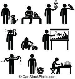 human, animais estimação, pictograma