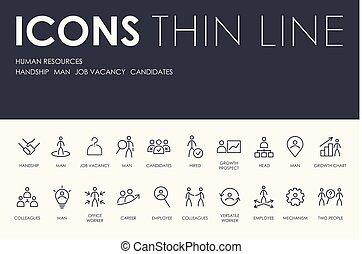 human, magra, recursos, linha, ícones