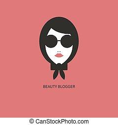 icon., blogger, moda, menina jovem, óculos de sol