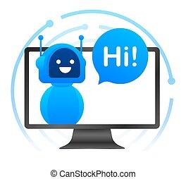 icon., illustration., online, vetorial, bot, robô, serviço, bot., sinal, design., chatbot, concept., voz, símbolo, apoio