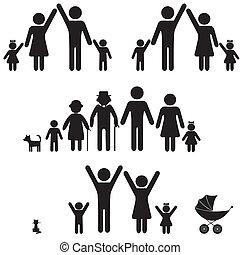 icon., pessoas, silueta, família