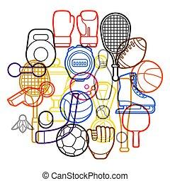 icons., desporto, fundo