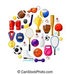 icons., fundo, desporto