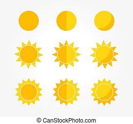 icons., jogo, sol