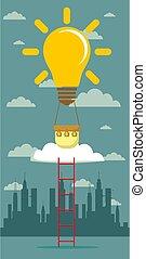 idéia, balloon, ladder.