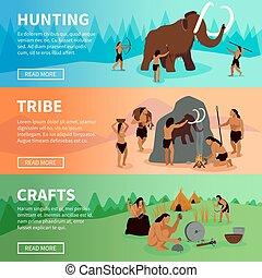 idade, caveman, pedra, pré-histórico, bandeiras