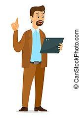 idea., criativo, tabuleta, aparecimento, decisão, homem, segura, símbolo, cima, seu, polegares
