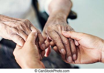 idoso, care., mãos, lar, ajudando