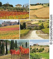 idyllic, colagem, casa, tuscan, paisagem