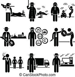 ilegal, atividade, trabalhos, crime