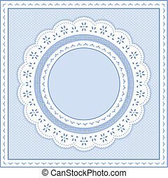 ilhó, pastel, azul, renda, quadro